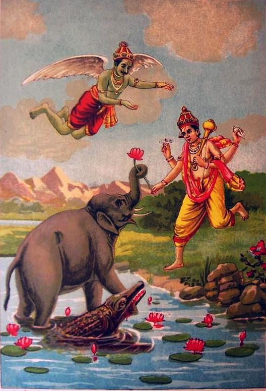 Gajendra being saved by Lord Vishnu